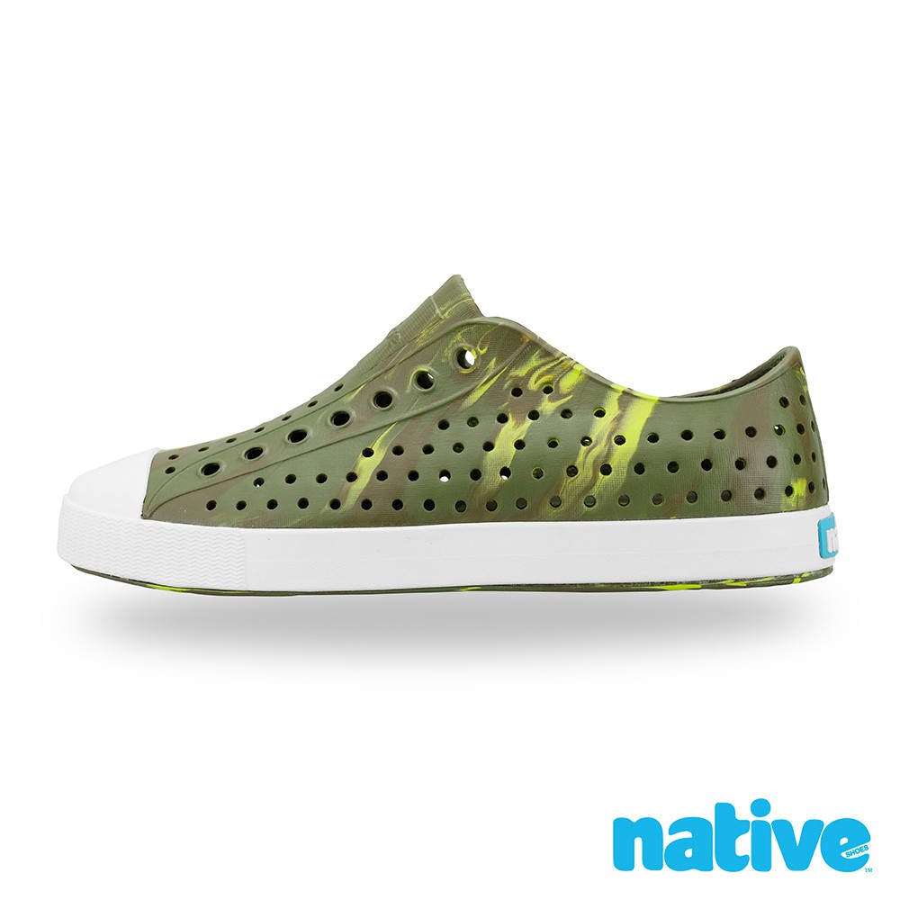 native JEFFERSON 男/女鞋-大理石紋x橄欖綠