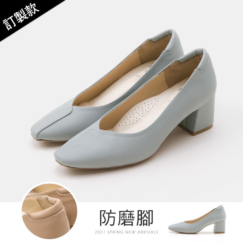 FMSHOES 訂製款-荷葉邊小方頭防磨腳高跟鞋(灰藍)-大尺碼-20008062