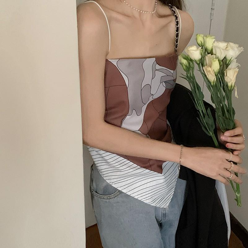 韓版ins印花塗鴉三角背心度假假絲巾吊帶