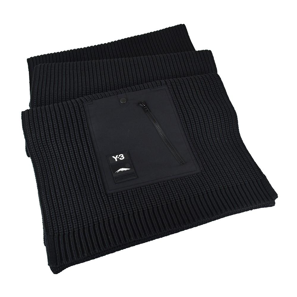 Adidas Y-3 CH3 POCKET SCARF橡膠LOGO針織口袋圍巾(黑)