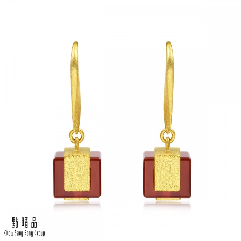 點睛品 g系列 方形紅瑪瑙垂墜黃金耳環