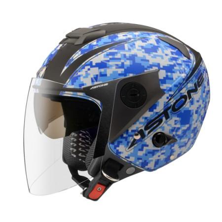 ASTONE RS-T55 消光黑/藍 全可拆洗 半罩 安全帽 通風佳 輕量化 雙鏡片《淘帽屋》