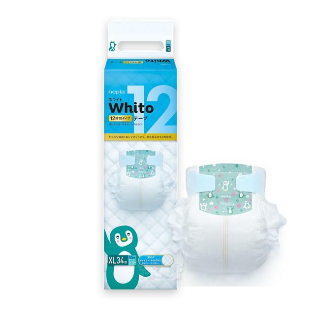 日本王子 Whito超薄長效黏貼型紙尿褲XL (34片x4包/箱)