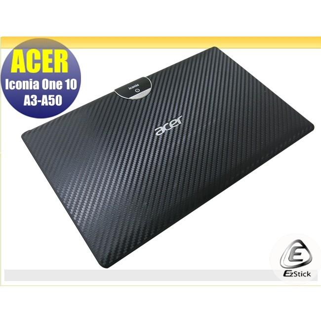 【Ezstick】ACER Iconia One 10 A3-A50 Carbon黑色立體紋機身貼 DIY 包膜
