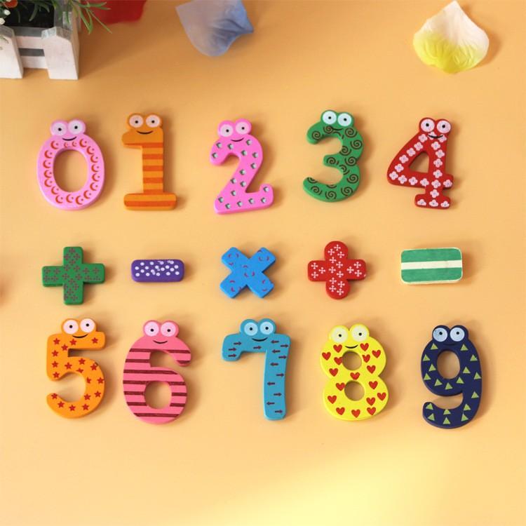 母嬰 新款母嬰用品 新款環保優質數字冰箱貼木製玩具冰箱貼批發 早教數字符號冰箱貼15個一包