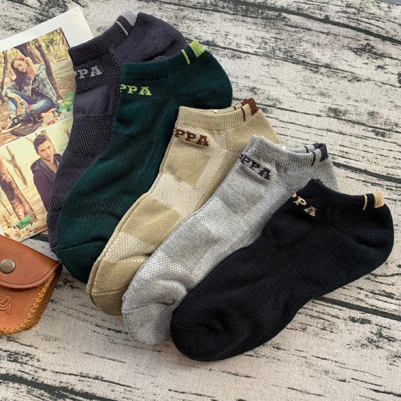 PAPPA WOCKS 輕壓力運動氣墊船襪 買5送2 男 台灣製 精梳純棉 運動襪男 厚襪子 加大襪子 短襪男 襪子男