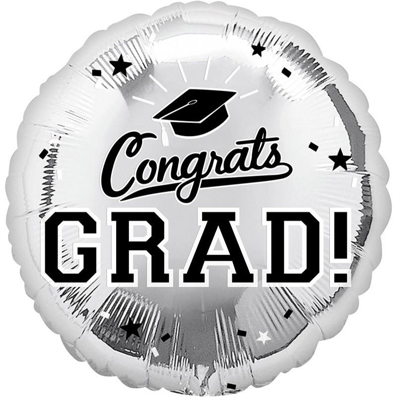 派對城 現貨【18吋鋁箔氣球(不含氣)-恭喜畢業銀】 歐美派對 生日氣球 鋁箔氣球 父親節氣球 派對佈置 拍攝道具