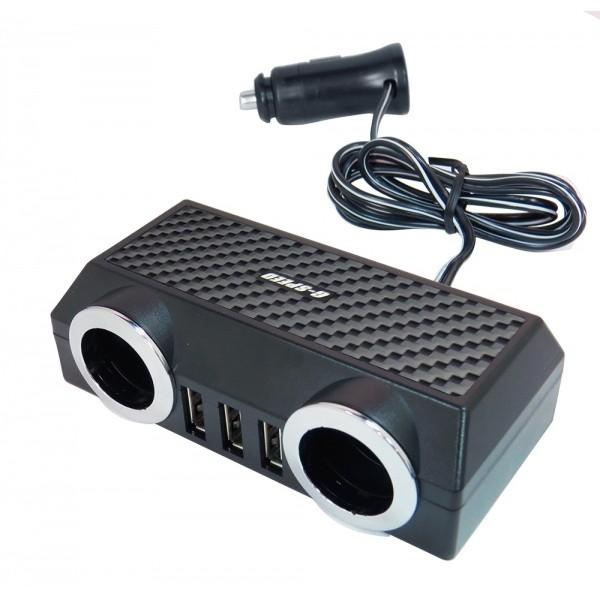 G-SPEED 碳纖紋 3.5A 2孔+3USB 點煙器延長線式電源插座擴充器 車充 XR-02 BSMI R55577