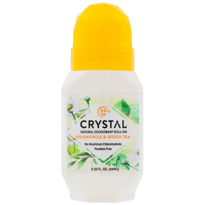 美國【Crystal Body 】 天然礦物鹽體香滾輪 體香劑-  洋甘菊綠茶 滾珠型66ml