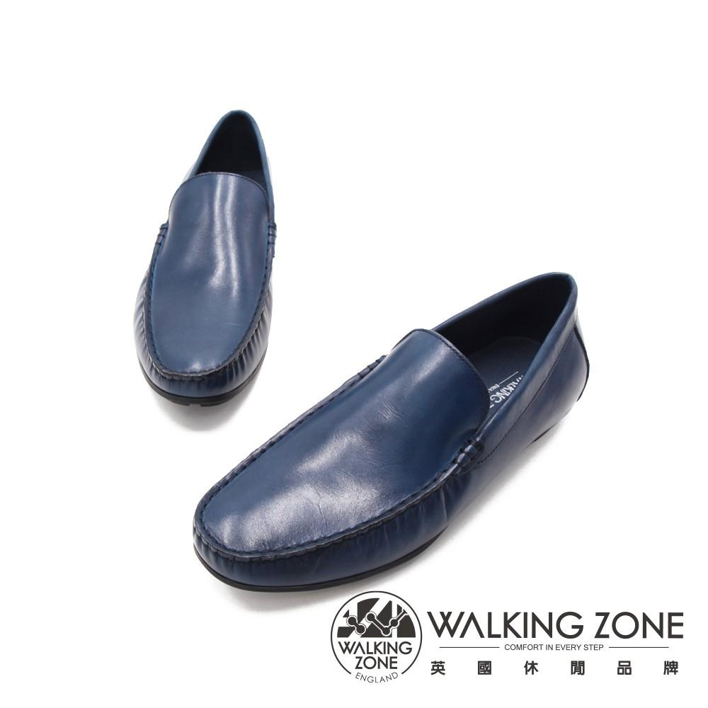 WALKING ZONE(男)光澤素面懶人樂福鞋 男鞋-藍(另有黑)