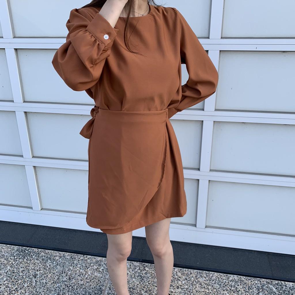 微挺版側綁帶雪紡洋裝 雪紡短裙 雪紡洋裝 長袖洋裝 短裙 短洋裝 綁帶裙 直筒裙 連身裙 GRASS 現貨 [C831]