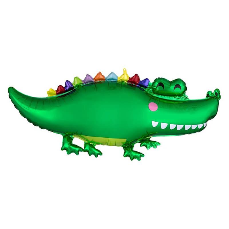 派對城 現貨 【50*58cm鋁箔氣球(不含氣)-Happy的鱷魚】歐美派對 生日氣球 鋁箔氣球  派對佈置 拍攝道具