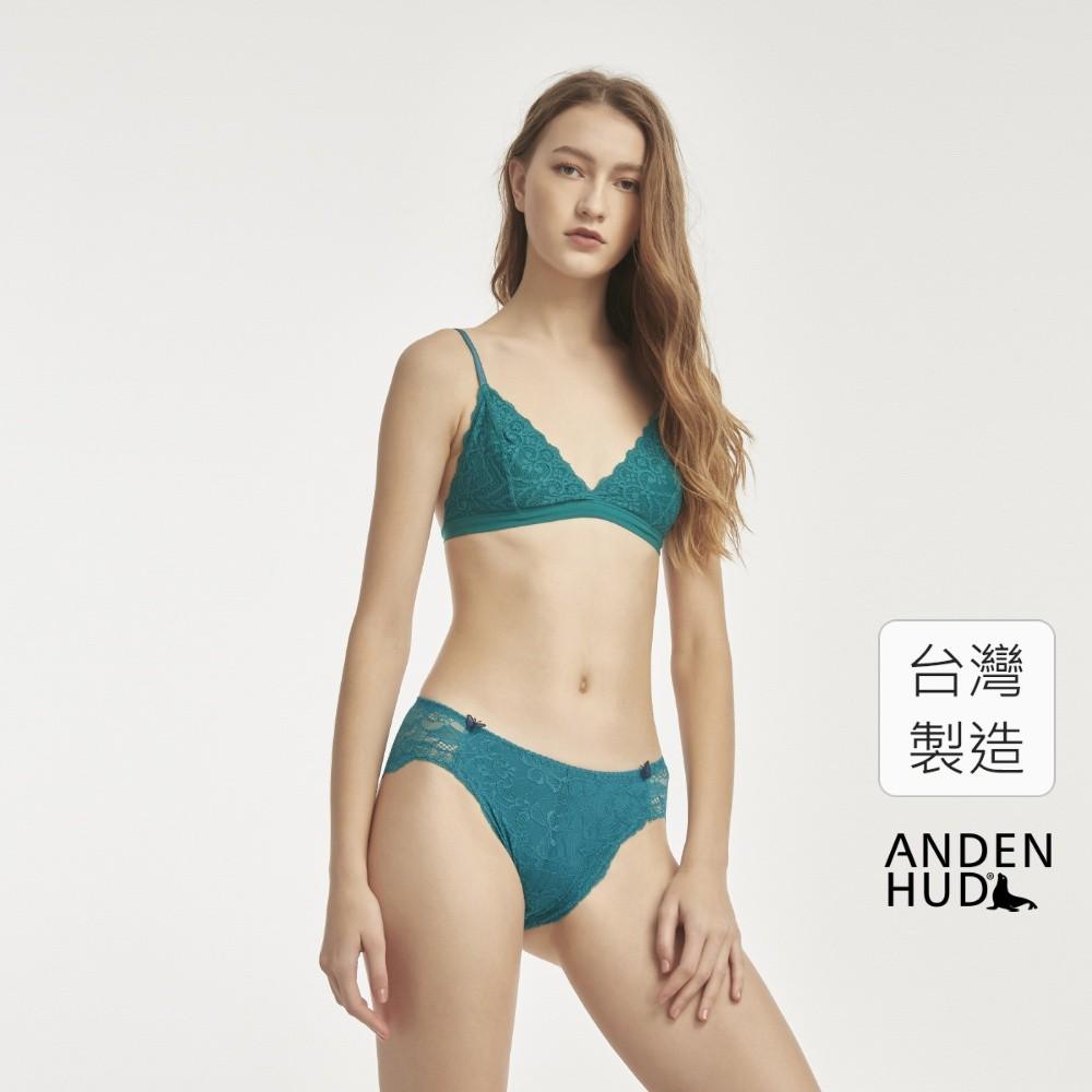 【Anden Hud】花樣.訂製高衩中腰三角內褲(翠綠) 台灣製