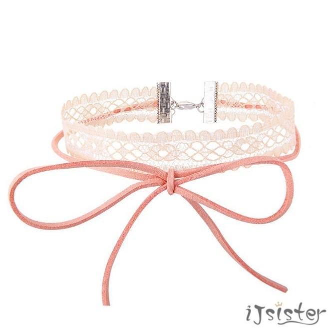 蕾絲綁帶頸圈韓國少女甜美溫柔綁帶蝴蝶結百搭頸鍊頸圈項鍊兩色可選418