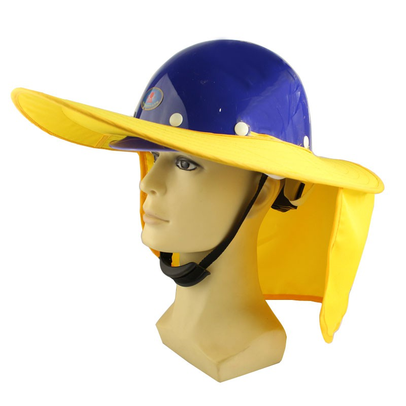 工地帽  夏季工地帽防曬遮陽帽帽檐遮陽罩遮陽板大沿帽帽沿工地神器遮臉男
