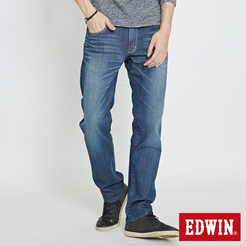 EDWIN EDGE 斜袋伸縮中直筒牛仔褲(石洗藍)-男款