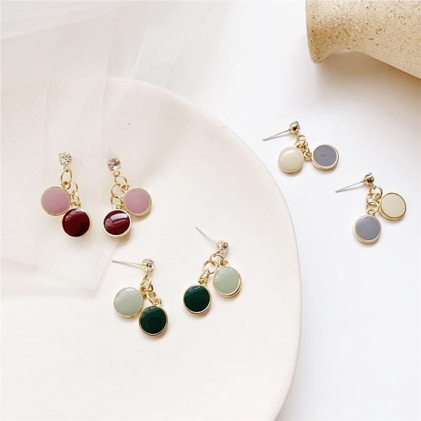 【NiNi Me】韓系耳環 氣質甜美糖果色圓形水鑽925銀針耳環 耳環 N0584