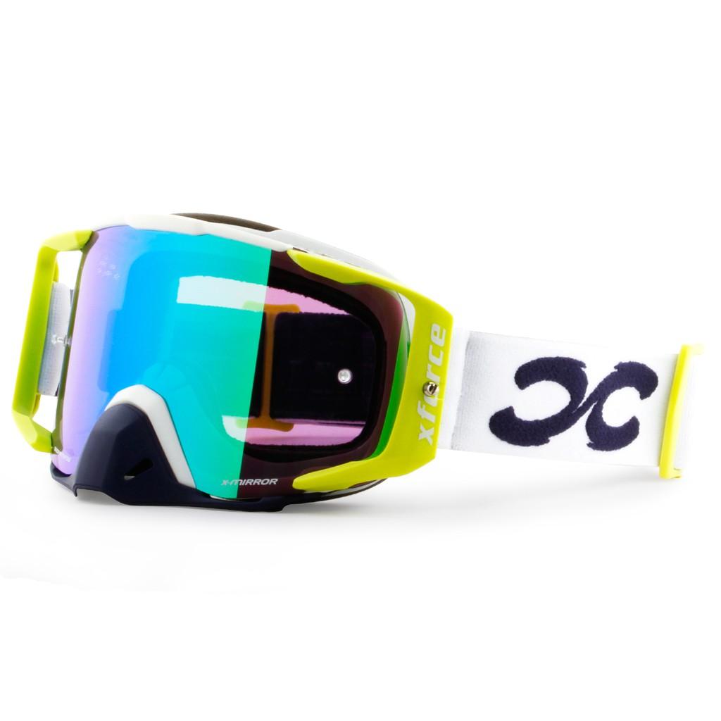 【XFORCE】摩托車/腳踏車專業護目鏡-刺客-白/霓虹黃 越野風鏡/騎士安全裝備/GOGGLES