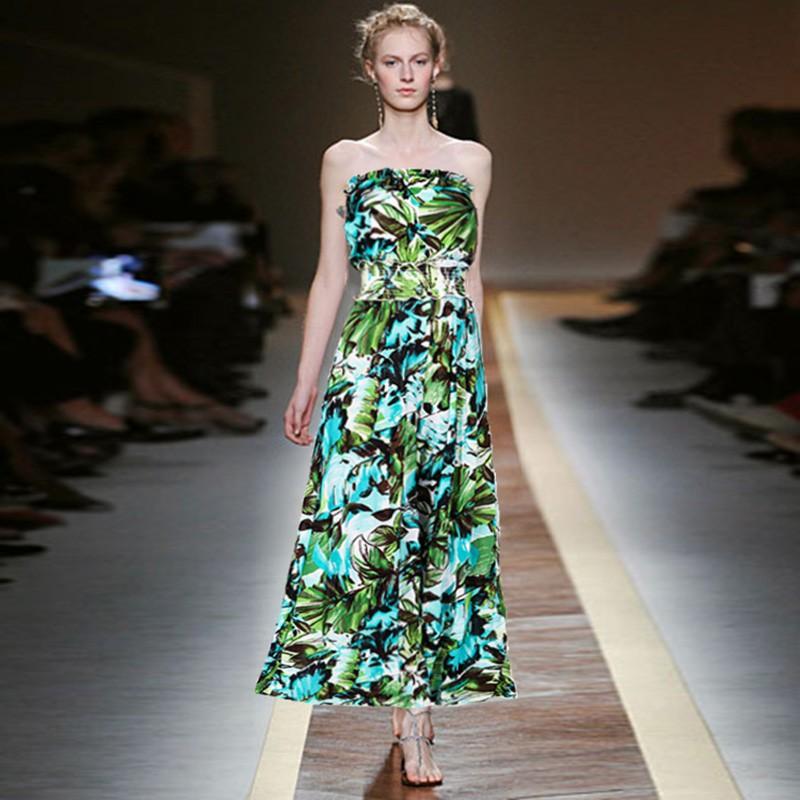 波西米亞 綠色 印花 鬆緊腰 抹胸 一字領 長褲 寬褲裙 連身褲女生衣著海邊度假休閒連體褲