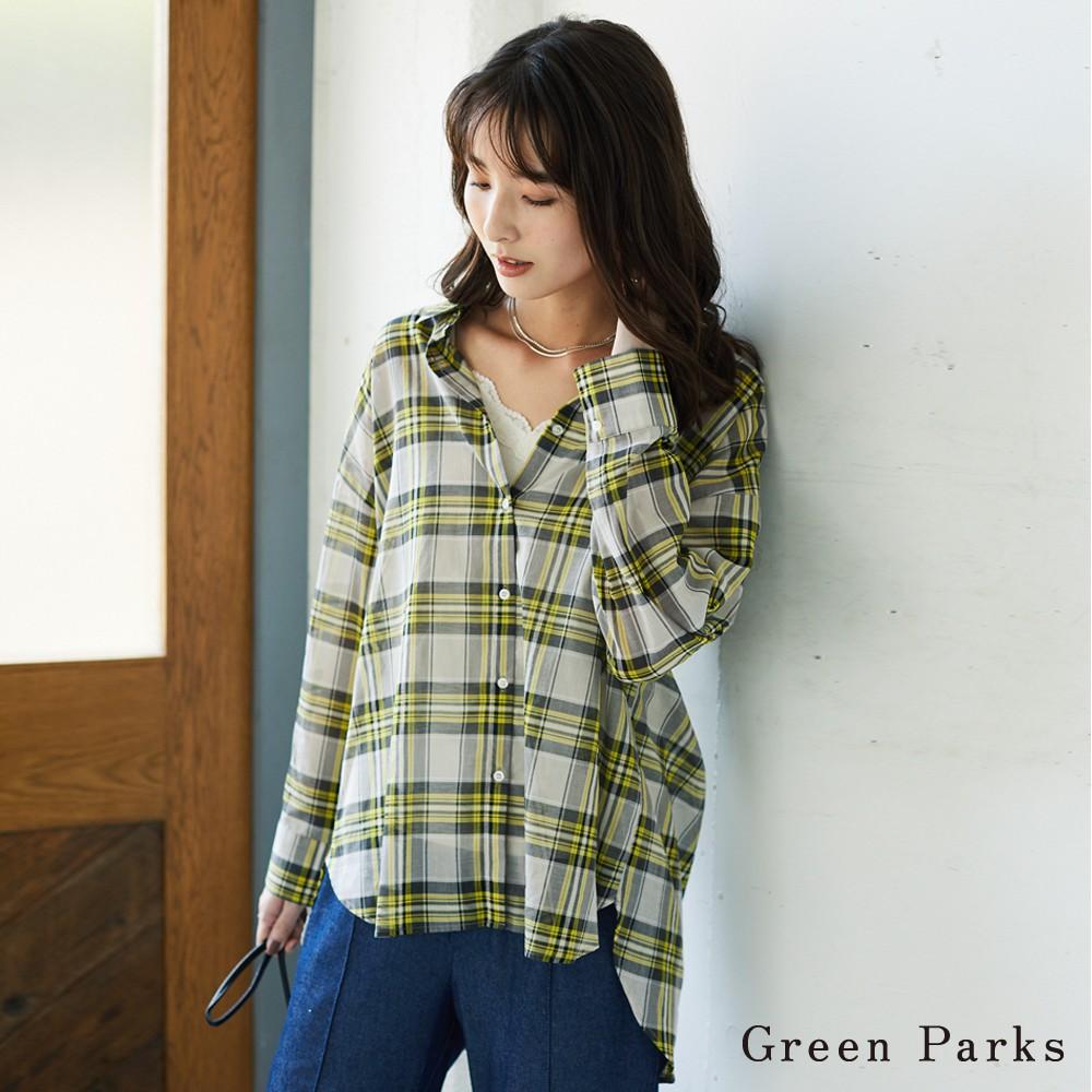 Green Parks 格紋略透造型襯衫上衣(6A03L0A0500)