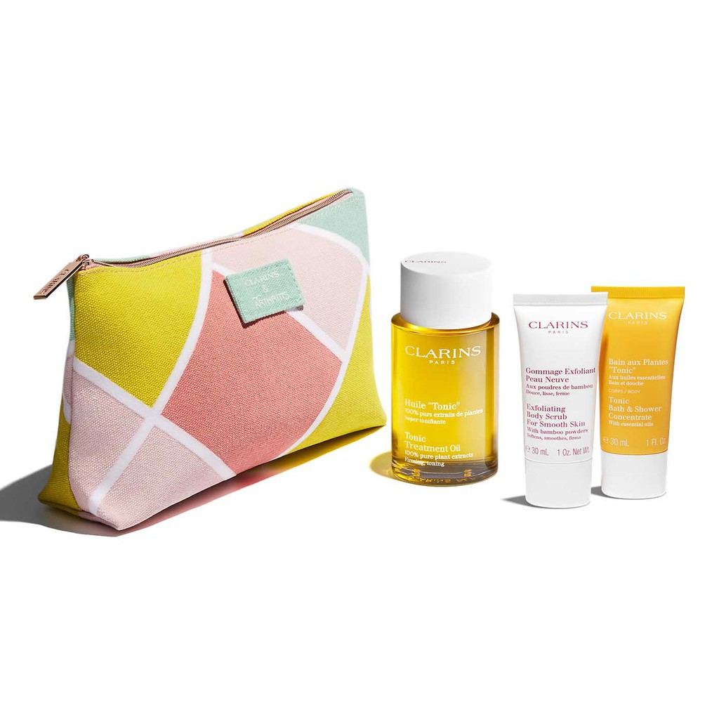 CLARINS 克蘭詩 身體調和護理油禮盒 (護理油+沐浴精+去角質) 附化妝包 SP嚴選家