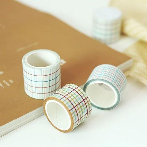 【駿隴】日系 清新 文青 糖果色 線條 基礎格子 和紙膠帶 紙膠帶 40mm*7m