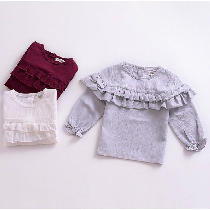 秋裝 女寶寶 長袖 上衣 兒童 歐美 荷葉邊 打底衫