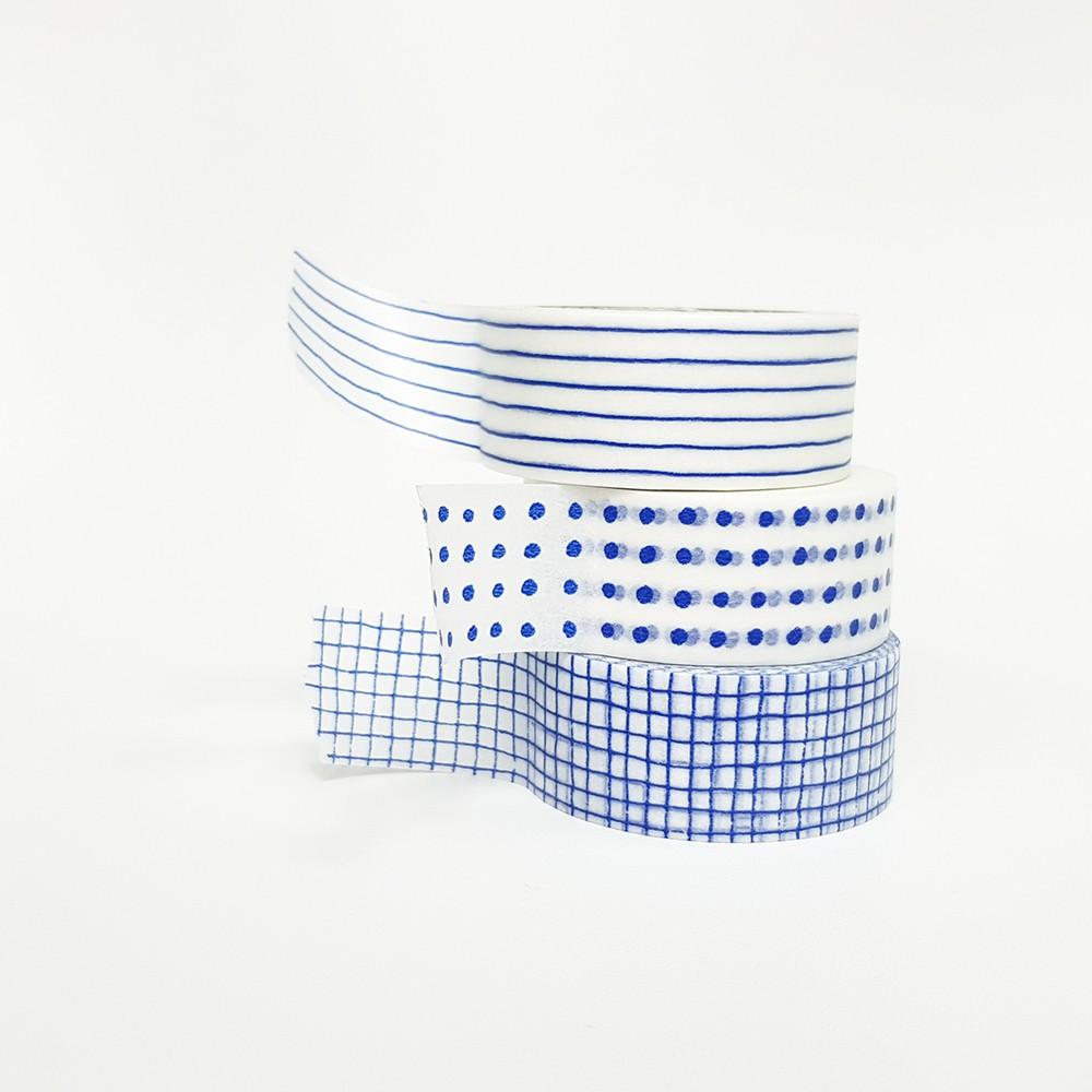 倉敷意匠 mitsou 和紙膠帶3入組 / 藍色 (45635-02)