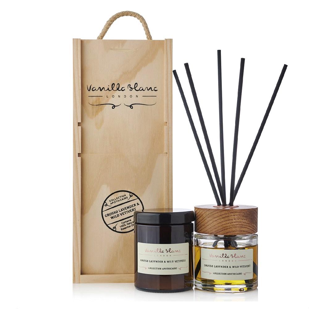 VANILLA BLANC 木製香氛組(擴香+蠟燭)香茅&尤加利270ml
