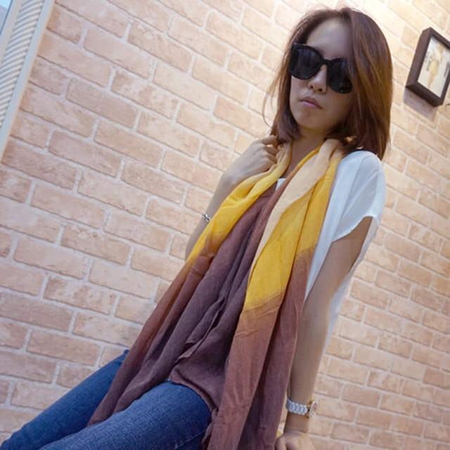【Lus.G】渲染漸層色麻紗圍巾(紫/粉綠/粉紅/黃棕)