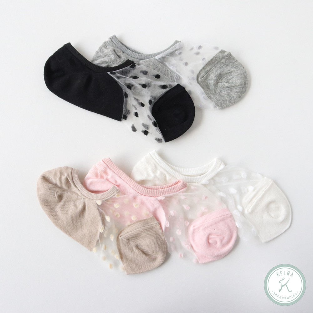 【KELRA】夏之初透膚小圓點短襪