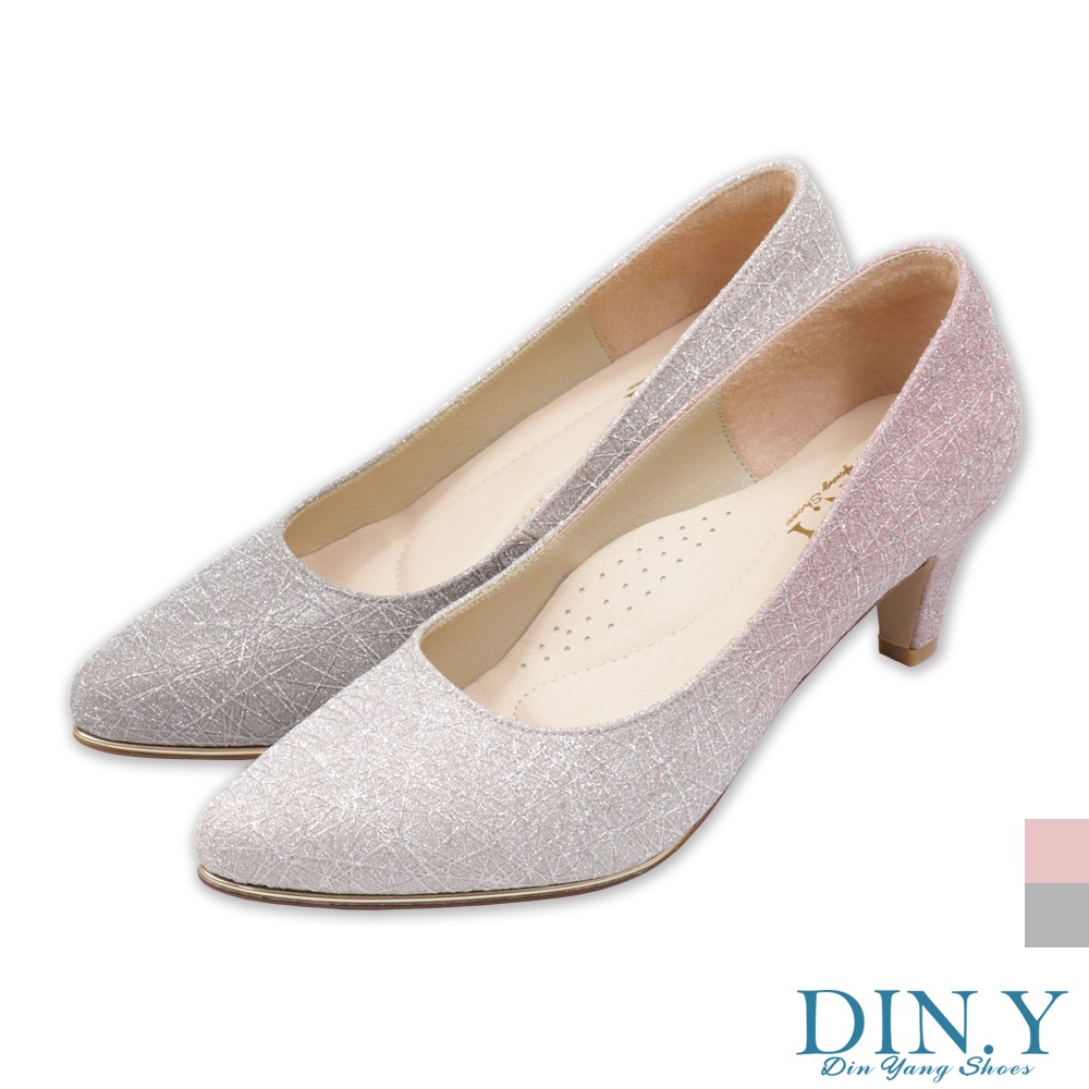 DIN.Y / S191-00 / 煙花紋漸層璀璨真皮裡跟鞋(粉金/灰金) 婚鞋/尖頭鞋/中低跟/晚宴鞋/ 5.5cm高
