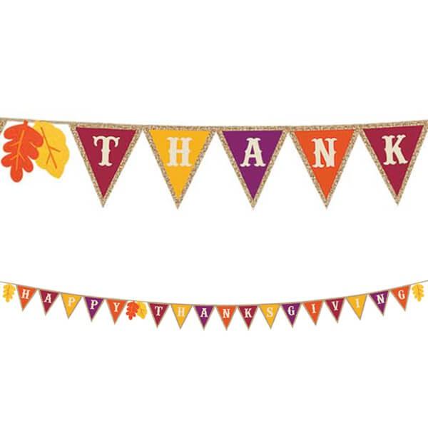 派對城 現貨 【三角旗麻布款-感恩節】 歐美派對 造型旗串 生日字串 三角旗 感恩節 派對佈置 拍攝道具