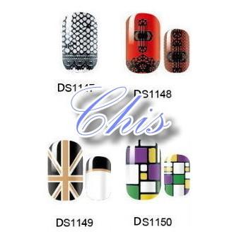 Chis Store fn歐美時尚卡通可愛造型指甲貼紙 美甲指甲油貼花 彩繪指甲果凍指甲貼片法式指甲貼白色情人節約會