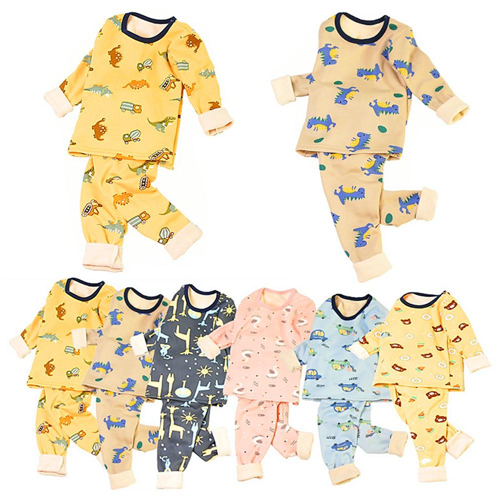 中大童發熱衣 刷毛發熱衣 兒童保暖內衣加絨加厚冬季童裝男女童牛奶絲上衣+絨褲兩件套睡衣