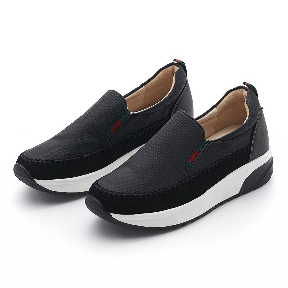 Camille's 韓國空運-正韓製-雙材質拼接厚底休閒懶人鞋-黑色