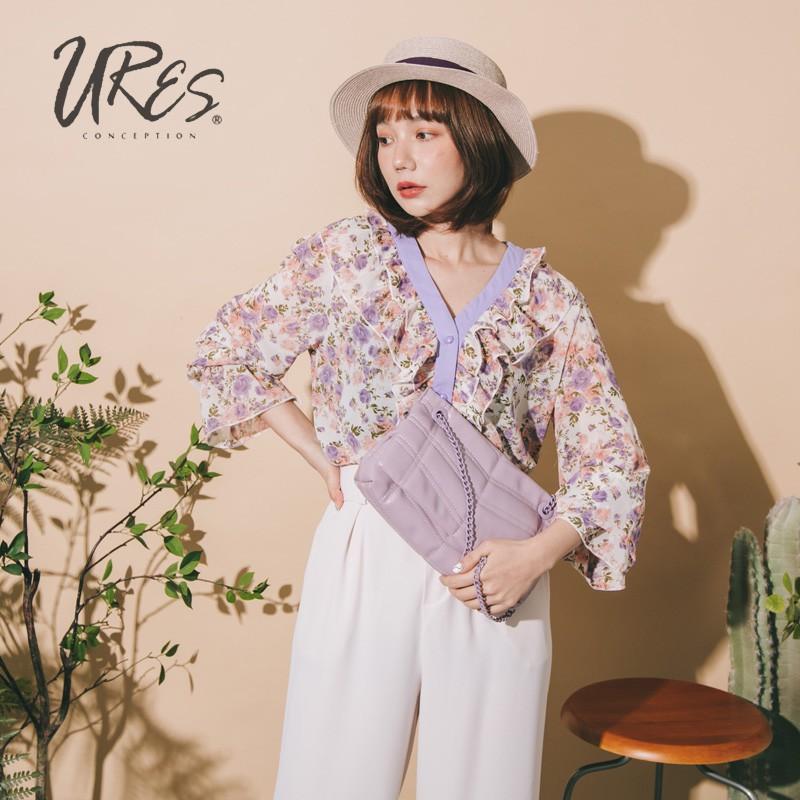 URES 粉紫玫瑰V領荷葉袖雪紡襯衫【881105560】