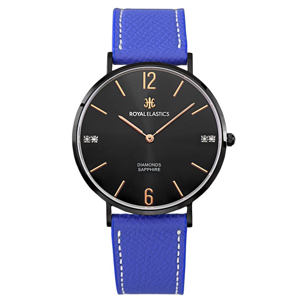 【ROYAL ELASTICS】皇室時尚石英腕錶(黑殼/黑面玫金釘/寶藍錶帶)-大小尺寸
