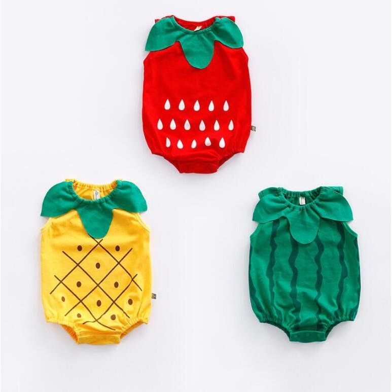 母嬰 新款夏款新生兒哈衣水果圖案連體哈衣皮卡丘三角無袖爬服造型服拍照服 母婴