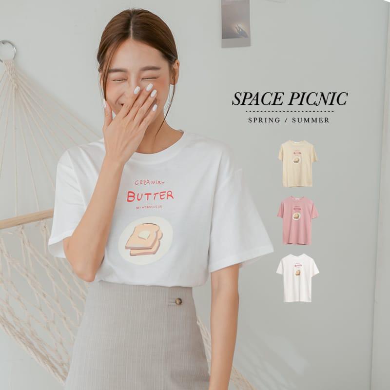 Space Picnic|奶油吐司圖印短袖上衣(現貨)【C21034094】