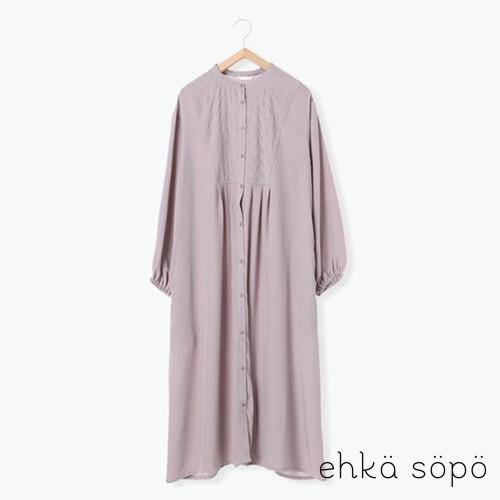 ehka sopo 素面拼接設計長袖開襟洋裝(FF11L0H1280)