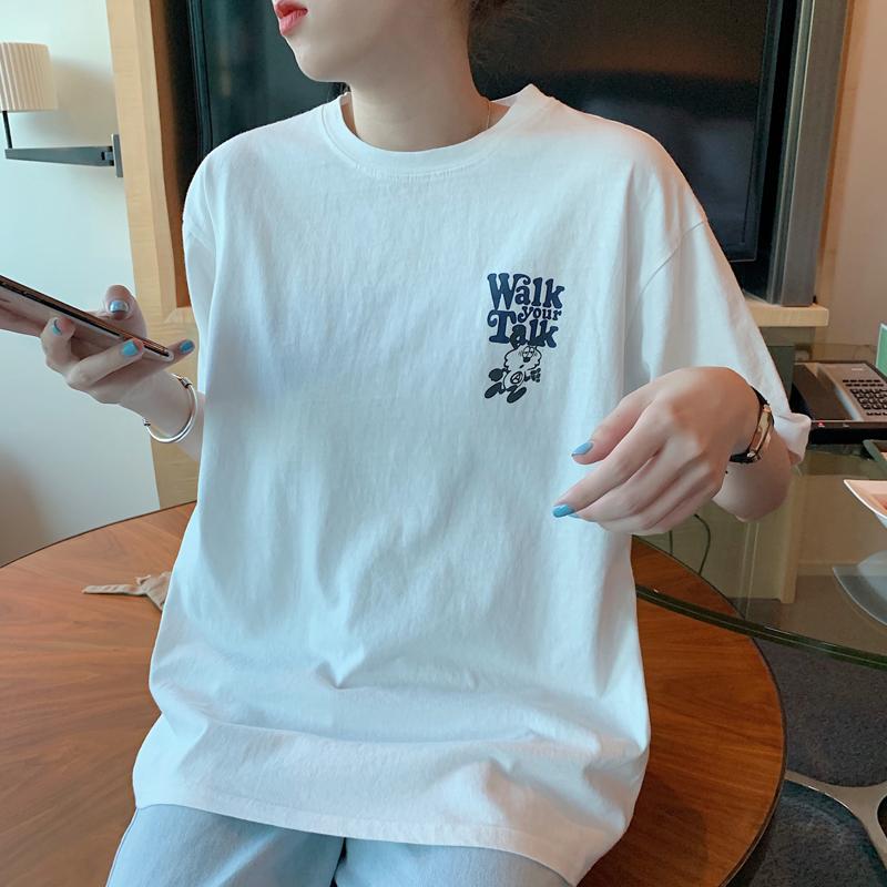 短袖T恤 圓領短袖T恤女後背印花短袖 顯瘦百搭休閑夏季