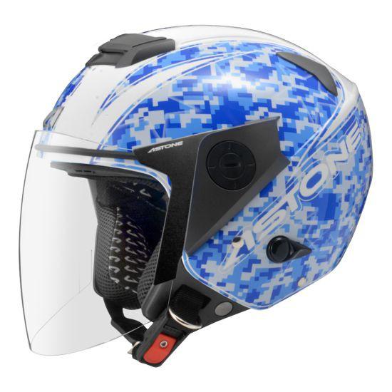 【ASTONE】RS T55(白藍) 3/4 半罩 安全帽 內藏墨片 鏡片快拆 眼鏡溝 安全插扣 內襯可拆洗
