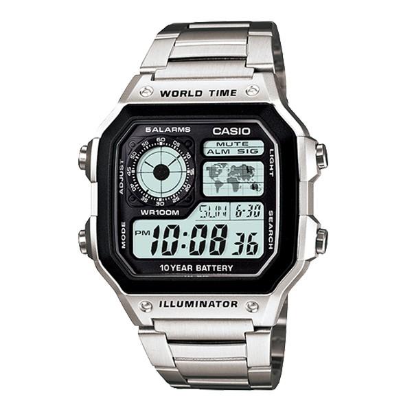 CASIO 世界地圖不鏽鋼電子手錶(AE-1200WHD-1A)