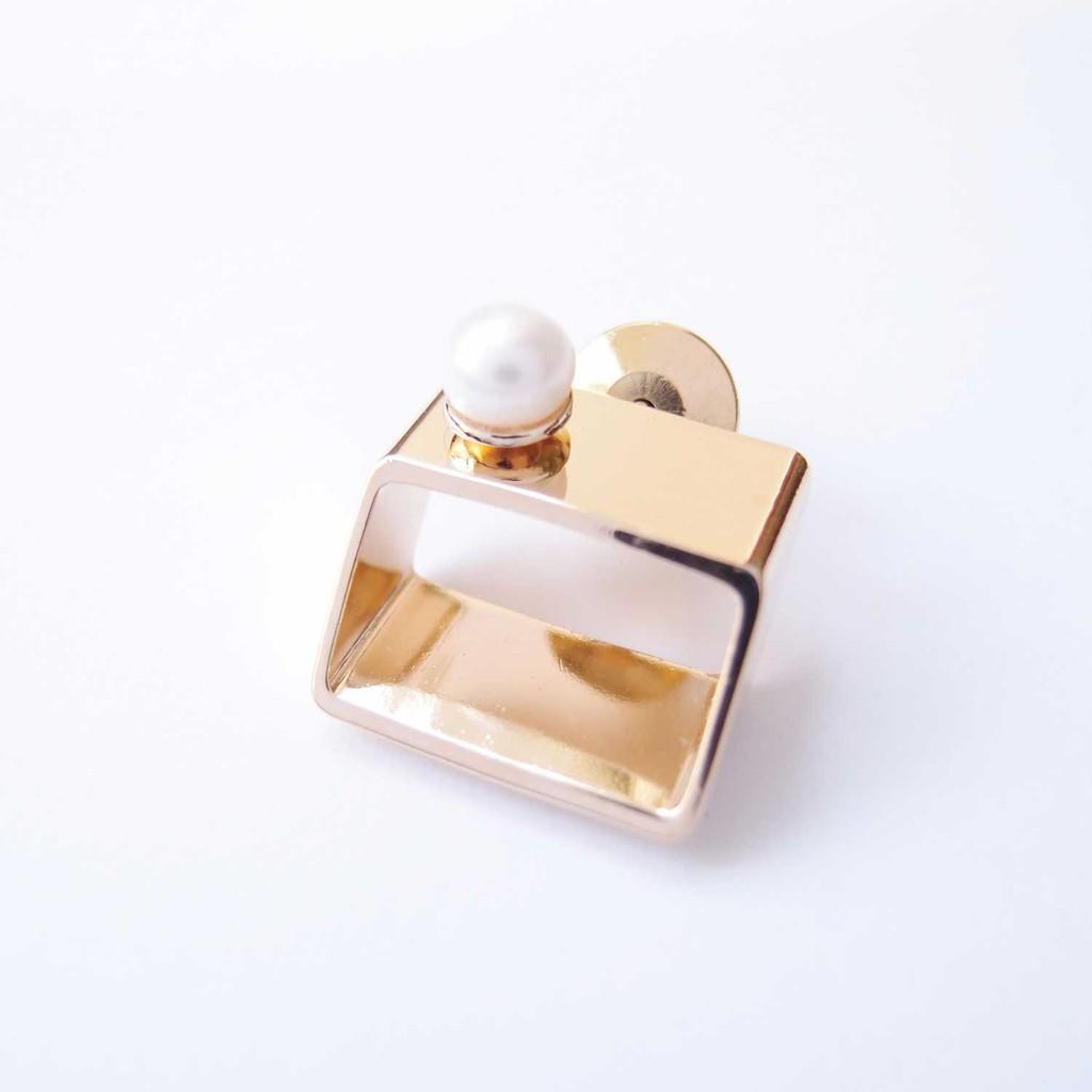 幾何風景14 金屬珍珠胸針