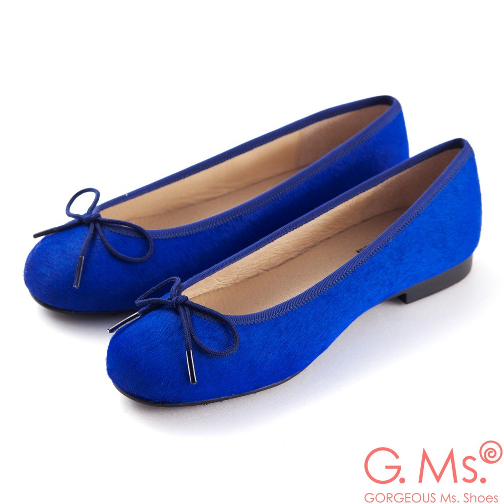 G.Ms. MIT系列-全真皮蝴蝶結馬毛芭蕾舞鞋-毛寶藍