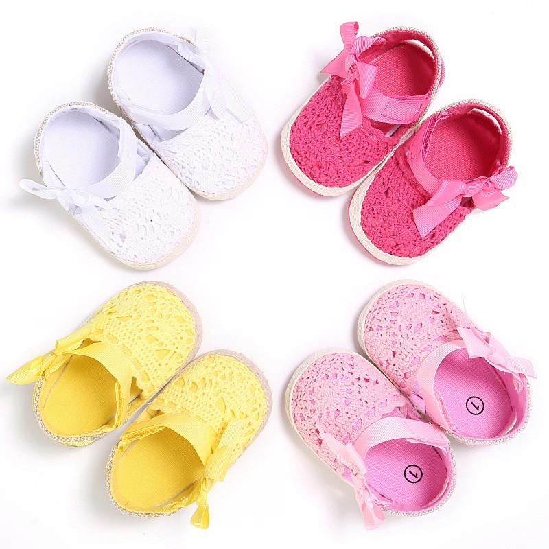 母嬰 新款童鞋嬰幼童寶寶鞋外貿夏季女寶寶鏤空蝴蝶結0-1歲軟底嬰兒學步鞋