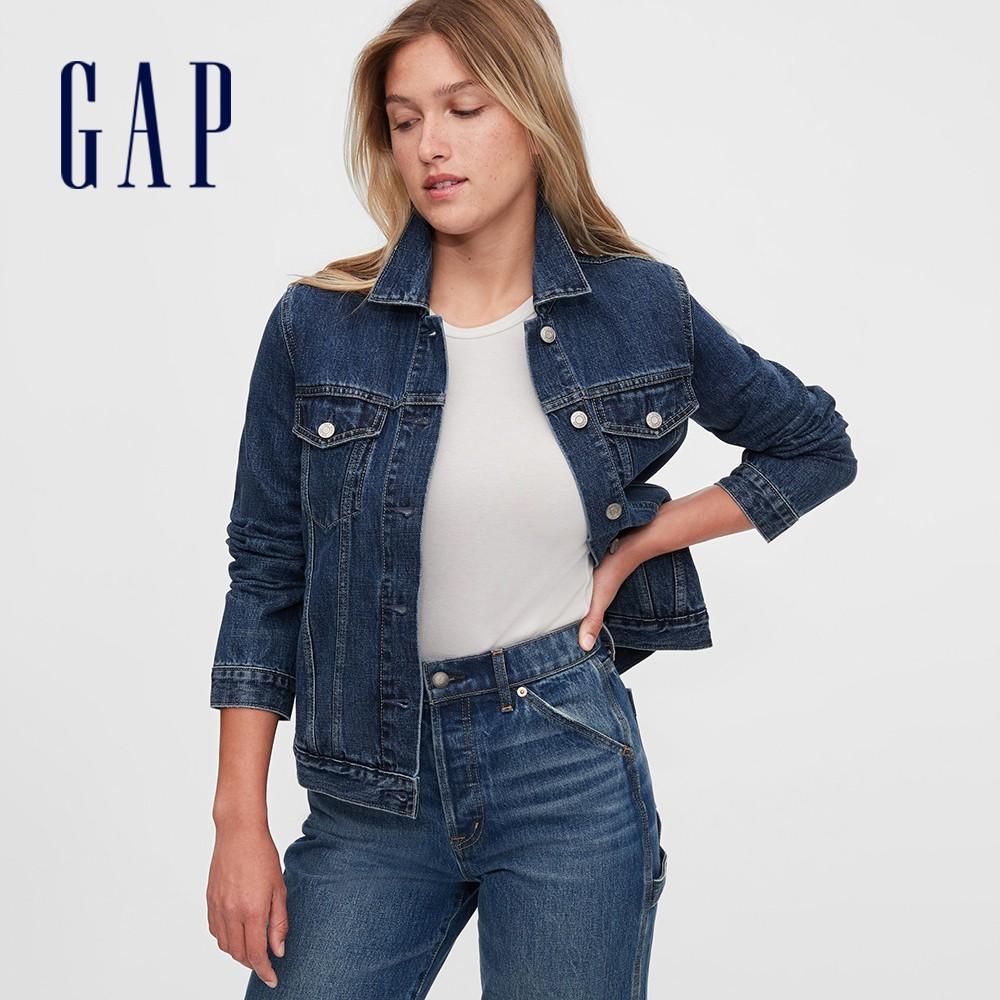 Gap 女裝 時尚靛藍口袋拉鍊牛仔外套 610491-深靛藍色