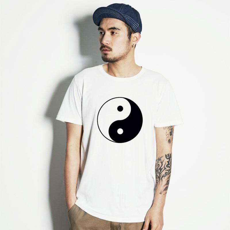 太極 圖案 短袖T恤 白色 陰陽 坤乾 中國符號 功夫【快速出貨】