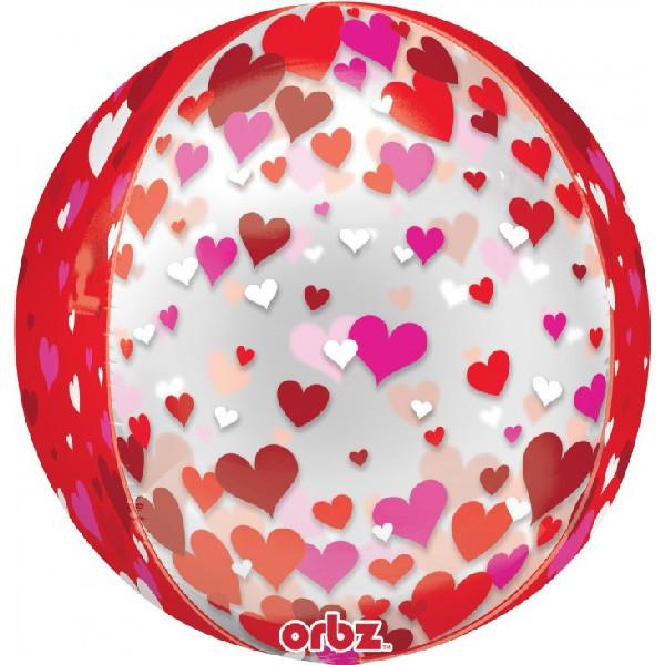 派對城 現貨 【38x40cm立體圓球(不含氣)-滿滿愛心】 歐美派對 生日氣球 鋁箔氣球 立體圓球 派對佈置 拍攝道具